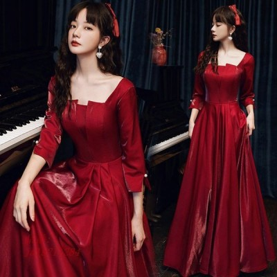 サテン ドレス ロング丈 イブニングドレス ワイン赤 袖あり 成人式ドレス 7分袖 Aライン パーティードレス ロングドレス 結婚式ドレス ゲストドレス 二次会