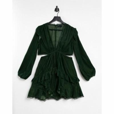 エイソス ASOS DESIGN レディース ワンピース ミニ丈 ワンピース・ドレス Mini Dress With Circle Trim In Velvet オリーブ