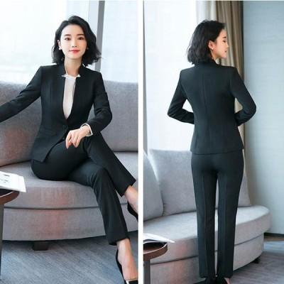 レディース スーツ 2点セット セットアップ ビジネス オフィス 同窓会 20代 30代 40代 服装 入学式 卒業式 シンプル 2色