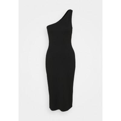ヌー イン レディース ワンピース トップス ONE SHOULDER MIDI DRESS - Day dress - black black