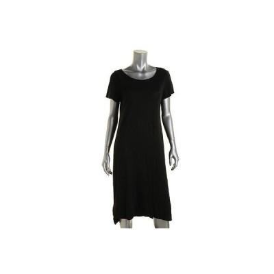 ドレス ワンピース Eileen Fisher Eileen Fisher 7418 レディース ブラック Hemp Slub Cap スリーブ Tシャツ ドレス M BHFO