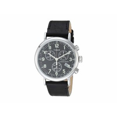タイメックス メンズ 腕時計 アクセサリー 41 mm Standard Chronograph Leather Strap Silver/Black/Black