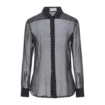 SAINT LAURENT シャツ ブラック 38 シルク 60% / レーヨン 40% シャツ