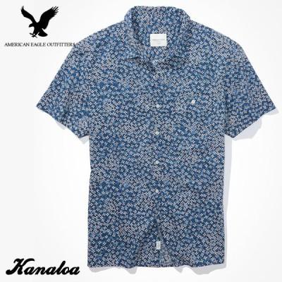 アメリカンイーグル シャツ 半袖 メンズ 花柄 カジュアルシャツ ブルー 大きいサイズあり