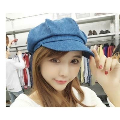レディースベレー帽サンバイザーUVカット紫外線対策デニム素材キャップベレー帽春夏カジュアルキャップhat028