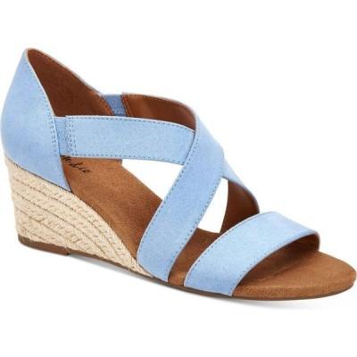 スタイル&コー Style & Co レディース サンダル・ミュール ウェッジソール シューズ・靴 zaddie wedge sandals Light Blue