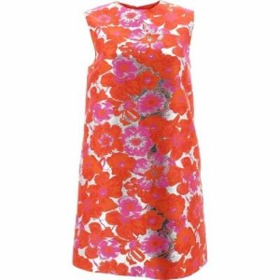 エムエスジーエム Msgm レディース ワンピース ワンピース・ドレス Silver Dress With Flower Pattern Orange