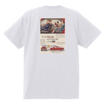 アドバタイジング フォード Tシャツ 白 1060 黒地へ変更可 1950 ビクトリア クレストライナー シューボックス f1 ホットロッド ロカビリー