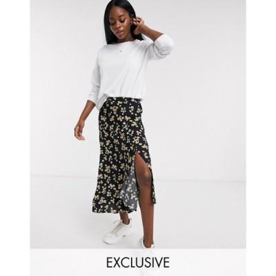 ウェンズデーガール レディース スカート ボトムス Wednesday's Girl midi skirt with asymmetric hem in ditsy floral