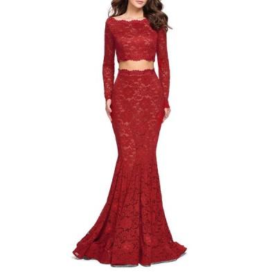 ラフェム レディース ワンピース トップス Embellished Two-Piece Long-Sleeve Lace Mermaid Gown