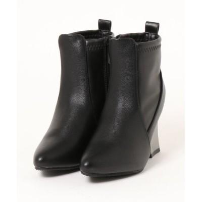 Mafmof / Mafmof(マフモフ) 変形メタリックヒールストレッチ素材 ブーツ WOMEN シューズ > ブーツ