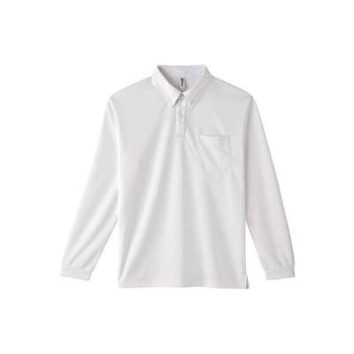 [グリマー]4.4オンス ドライボタンダウン長袖ポロシャツ(ポケット付) 00314-ABL ABL  ホワイト 日本 L (日本サイズL相当)