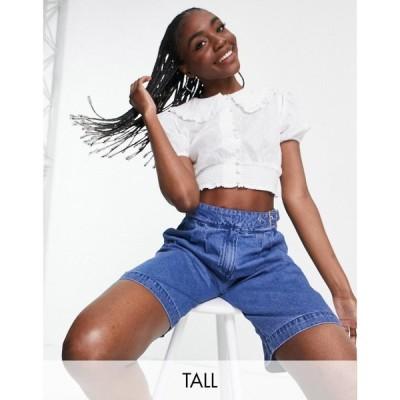 インフルエンス Influence Tall レディース ベアトップ・チューブトップ・クロップド トップス collared crop blouse in white ホワイト