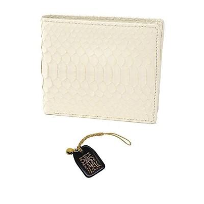 白蛇 金運 アップ 二つ折り財布 高級 錦蛇 表裏 無双 札入 本革 パイソン レザー 日本製 金来符