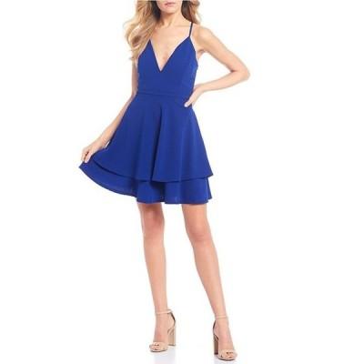 ハニーアンドロージー レディース ワンピース トップス Lace Back Double Hem Fit-and-Flare Dress