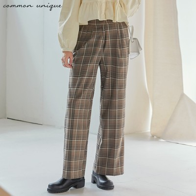 [BOTTOM] NUFF CHECK BANDING WIDE SLACKS