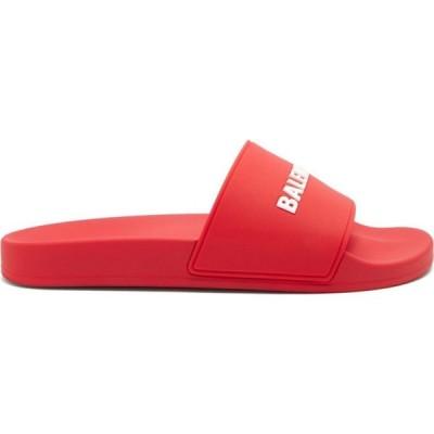 バレンシアガ Balenciaga メンズ サンダル シューズ・靴 Logo-embossed rubber slides Red