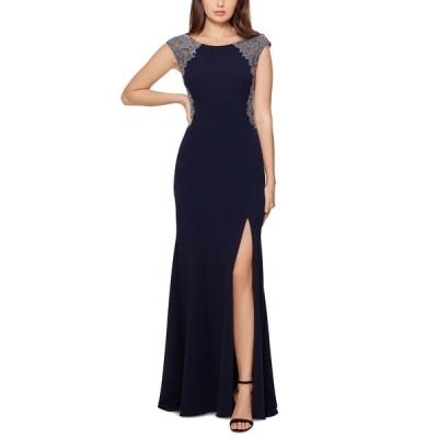 エスケープ ワンピース トップス レディース Embellished Lace-Trim Gown Navy Blue/Silver