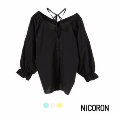 ブラウス レディース カットソー プルオーバー 無地 長袖 キャンディスリーブ NiCORON ニコロン tシャツ セール 送料無料
