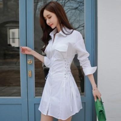 レディース ファッション シャツワンピース ミニ丈 白 長袖 きれいめ 可愛い 大人 春物 夏物 最新 2020 人気 可愛い 大人