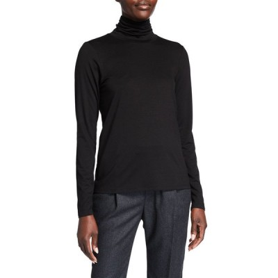 エイリーンフィッシャー レディース シャツ トップス Petite Scrunch-Neck Long-Sleeve Jersey Top