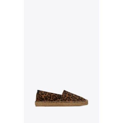 サンローラン SAINT LAURENT エスパドリーユ シューズ 靴 ナチュラル レオパード プリント スエード カーフスキン レザー