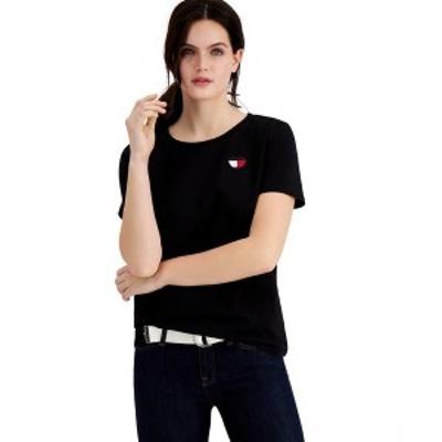 トミー ヒルフィガー レディース Tシャツ トップス Heart-Logo T-Shirt Black