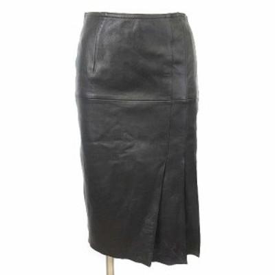 【中古】ノーベスパジオ NOVESPAZIO スカート ラムレザー 羊革 ひざ丈 タック 36 黒 ブラック IBS88