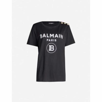 バルマン BALMAIN レディース Tシャツ トップス Logo-print cotton-jersey T-shirt NOIR/BLANC