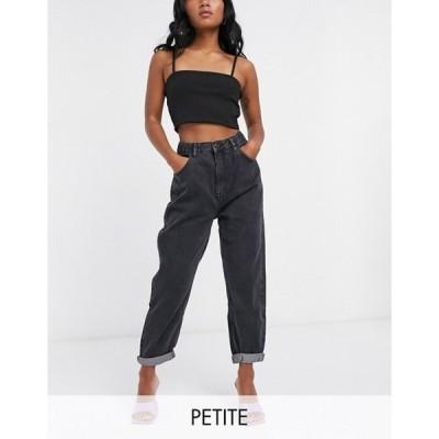 プルアンドベアー レディース デニムパンツ ボトムス Pull&Bear Petite elasticized waist mom jeans in black