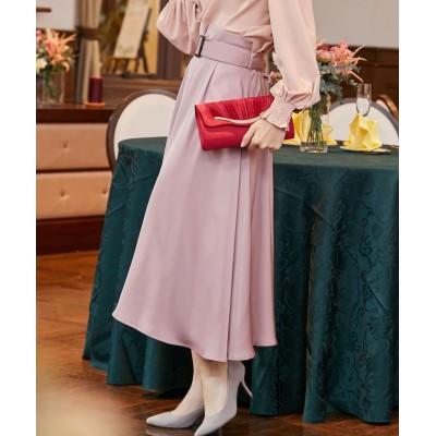 【ドレス スター】 バックルベルトフレアスカート レディース ピンク Sサイズ DRESS STAR