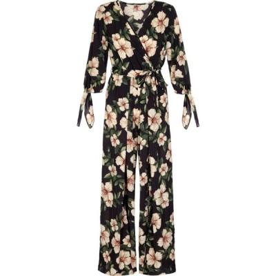 メーラ Mela レディース オールインワン ジャンプスーツ ワンピース・ドレス Flower Tie Sleeve Jumpsuit Black