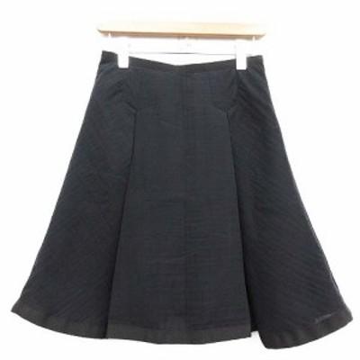 【中古】サカイラック sacai luck スカート ひざ丈 ボックスプリーツ フレア 1 黒 ブラック /TU レディース