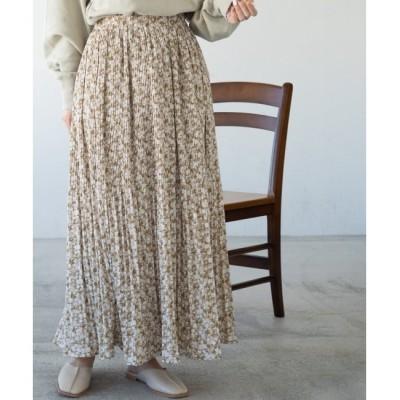 【レイカズン/Ray Cassin】 箔プリント消しプリーツスカート