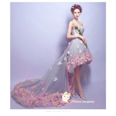 花柄 Party Dress 演奏会 ピアノ 不規則なウェディングドレス 結婚式 パーティードレス 二次会 発表会20代30代 カラードレス 大きいサイズロングドレス