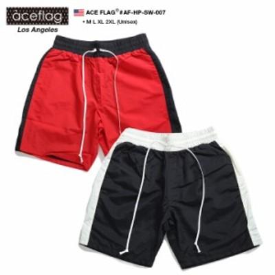 ACE FLAG ハーフパンツ ナイロン メンズ レディース 春夏用 赤 エースフラッグ ナイロンパンツ ショートパンツ ゆったり パンツ おしゃれ