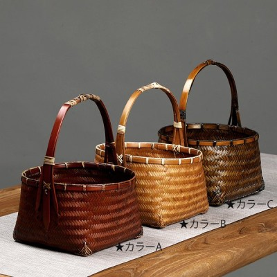 garuda雑貨★ナチュラル手作りかごバッグ 手編みバック 自然素材バスケット 竹籠  持ち手付き 収納箱 小物入れ 3色 品番2838