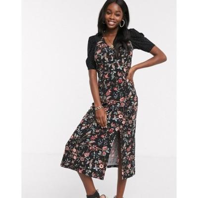 オアシス レディース ワンピース トップス Oasis floral print midi dress in black
