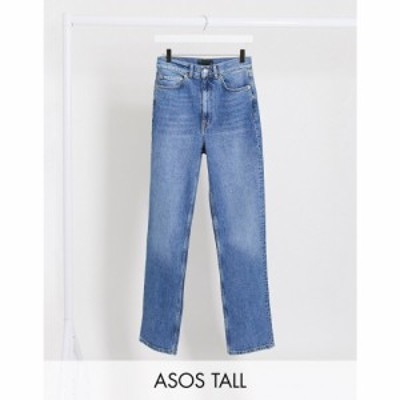 エイソス ASOS Tall レディース ジーンズ・デニム ASOS DESIGN Tall high rise stretch slim straight leg jeans in mid vintage wash グ