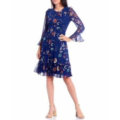 カルバンクライン レディース ワンピース トップス Bell Sleeve Ruffle Hem Floral Chiffon A-Line Dress Regatta Multi