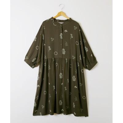 しなやかレーヨン ボタニカル柄 チュニックワンピース(7分袖) (ワンピース)Dress