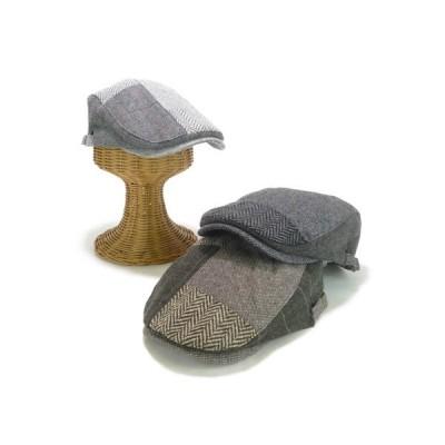 ハンチング 帽子  ヘリンボン×ツイードパッチワークハンチング ヤング