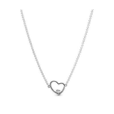 """Pandora Jewelry Asymmetrical Heart Cubic Zirconia Necklace in Sterling Silver, 17.7"""""""