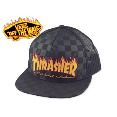 ☆VANS×THRASHER【バンズ×スラッシャー】FLAMELOGO CHECKER MESHCAP BLACK フレイムロゴ メッシュキャップ 15992
