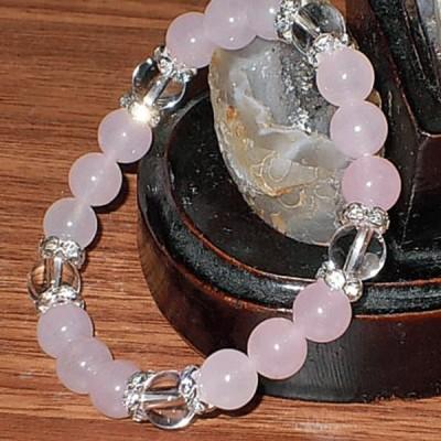 水晶 ブレスレット ローズクオーツ 五芒星 パワーストーン 天然石 誕生石