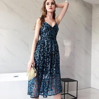 ブルー ミディアム丈ドレス  Vネック 背開き 透け感  セクシー パーティードレス 30代 40代 お呼ばれ 発表会 演奏会 二次会 誕生日 成人式 イブニングドレス
