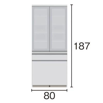 サイズが豊富な高機能シリーズ 食器棚深引き出し 幅80奥行45高さ187cm/パモウナ JZ-S801K ホワイト
