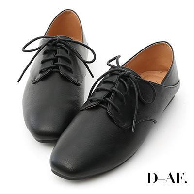 D+AF 悠閒漫步.小方頭可後踩牛津懶人鞋*黑