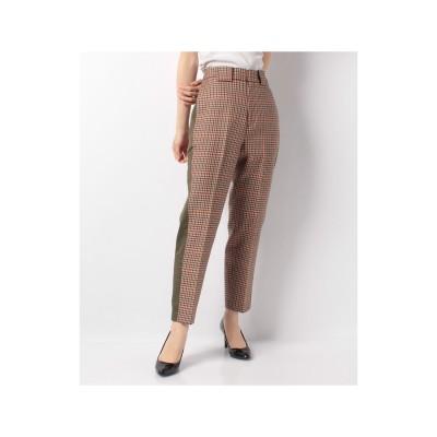 actuelselect 【blanc basque】バレンシアチェックサイド配色パンツ(ベージュ系)【返品不可商品】