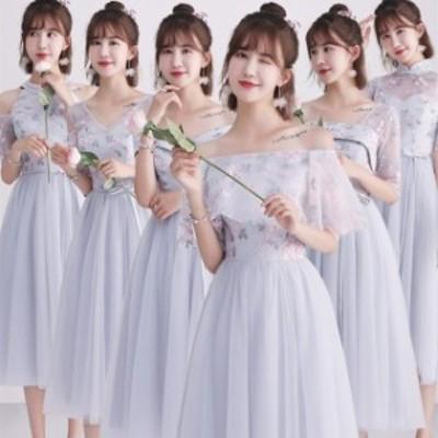 二次会 成人式 ドレス ウェディングドレス ミディアムドレス お呼ばれドレス卒業式 パーティドレス ミモレ丈 結婚式 ドレス